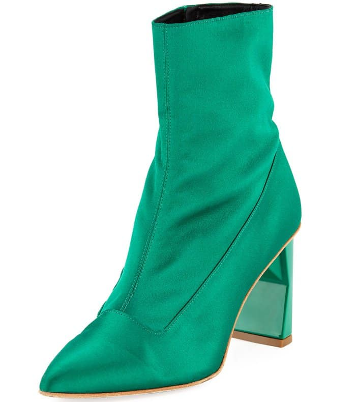 "Tibi ""Alexis"" booties in green satin"