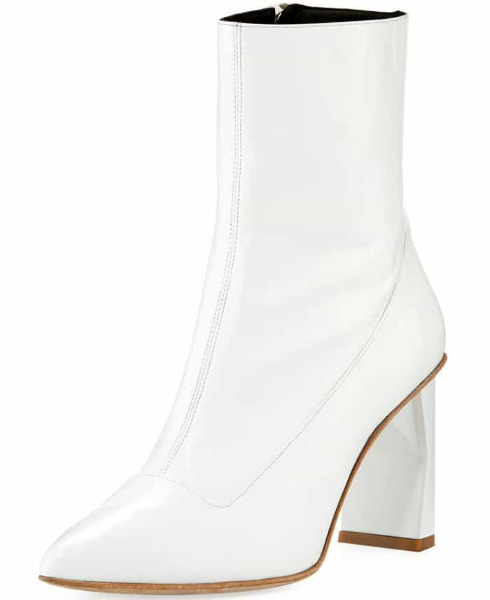 "Tibi ""Alexis"" booties in white leather"