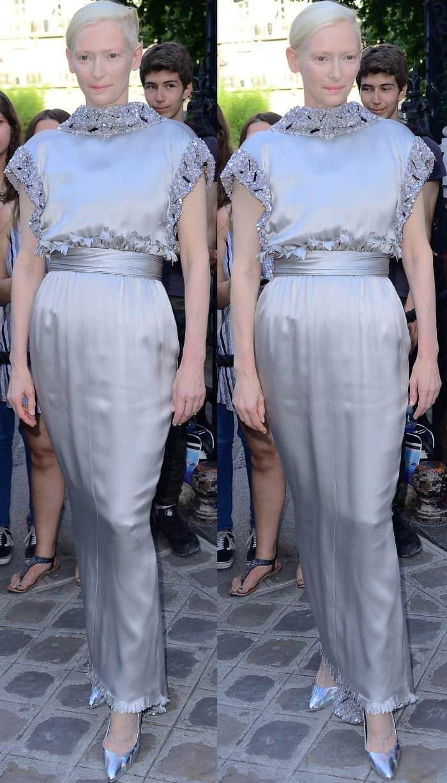 Tilda Swinton wearing head-to-toe Chanel at the Vogue Paris Foundation dinner