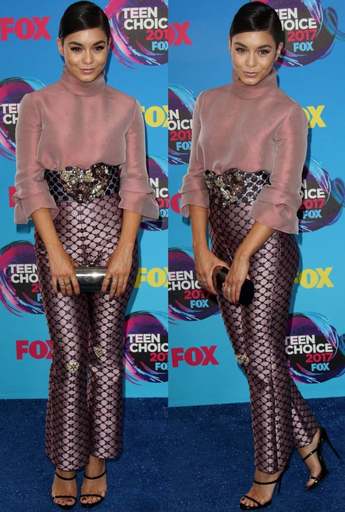 "Vanessa Hudgens wearing a Reem Acra Fall 2017 ensemble with Giuseppe Zanotti ""Harmony"" sandals at the 2017 Teen Choice Awards"
