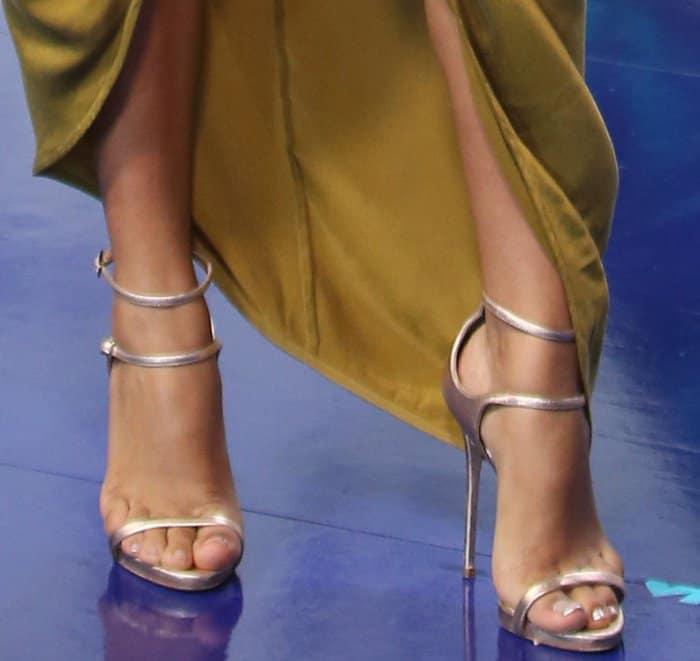 Yara Shahidi's pedicured toes in rose gold heels from Giuseppe Zanotti