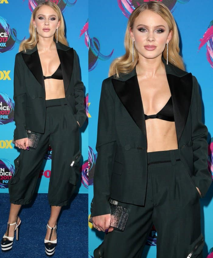 "Zara Larsson wearing an Are You Am I satin bra, Fendi Pre-Fall 2017 blazer and cropped pants, and Gucci ""Angel"" spiked platform shoes at the 2017 Teen Choice Awards"