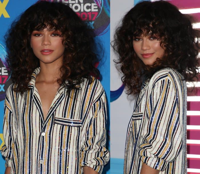Zendaya rocking retro-glam curls and an Ashish Fall 2017 sequin-embellished look at the 2017 Teen Choice Awards