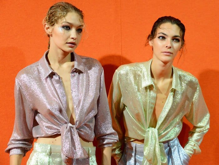 Gigi and Vittoria Ceretti sport the beautiful metallic fabric pieces from the Spring/Summer 2018 line