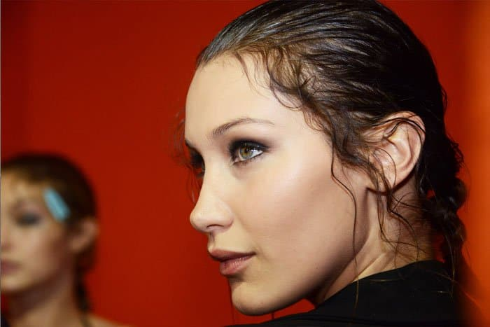 Bella Hadid shows off her perfectly bronzed cheekbones and smoky eyes