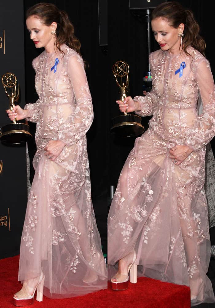 Alexis Bledel Wins First Emmy In Giuseppe Zanotti Betty