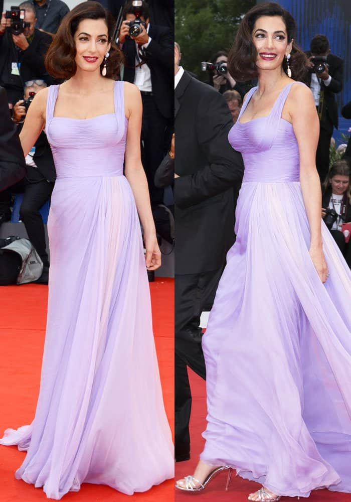 Amal is a vision in lilac in an Atelier Versace dress