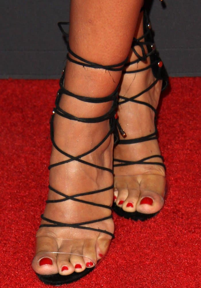 Amanda's Aldo shoes mixes the classic lace-up sandals with the trendy PVC band