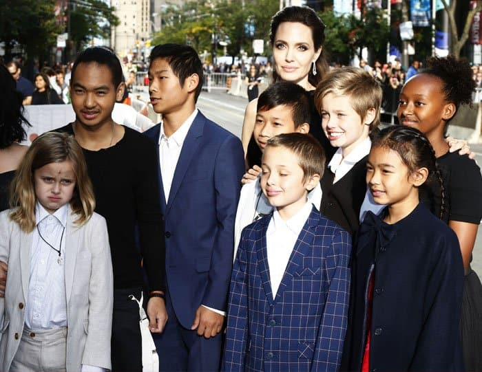 """Angelina brings her children to the TIFF premiere of """"First They Killed My Father"""""""