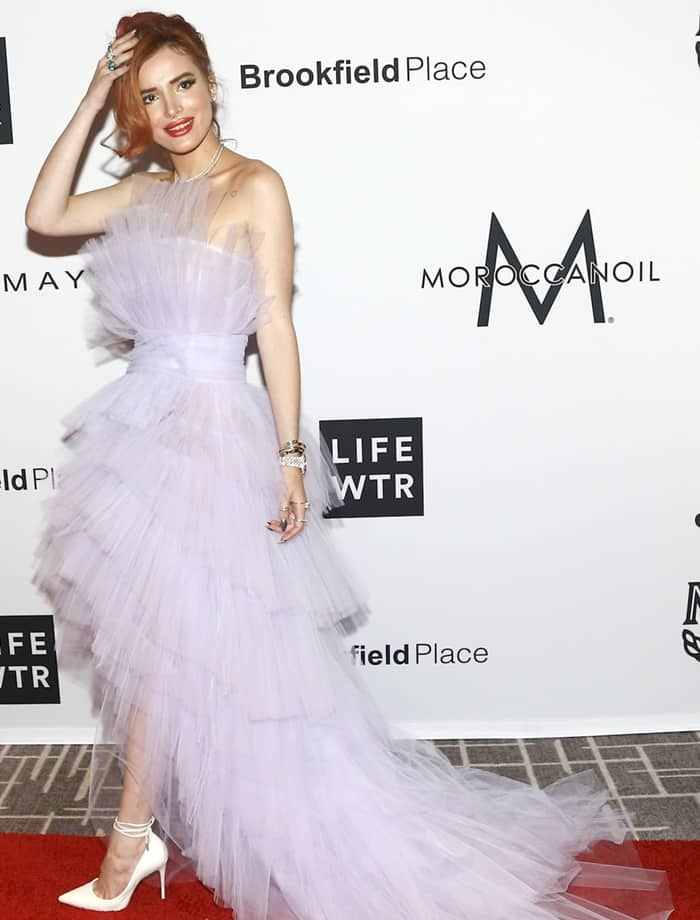 """Bella Thorne in a lilac Pamella Roland tulle gown and Schutz """"Thamille"""" ankle tie pumps."""