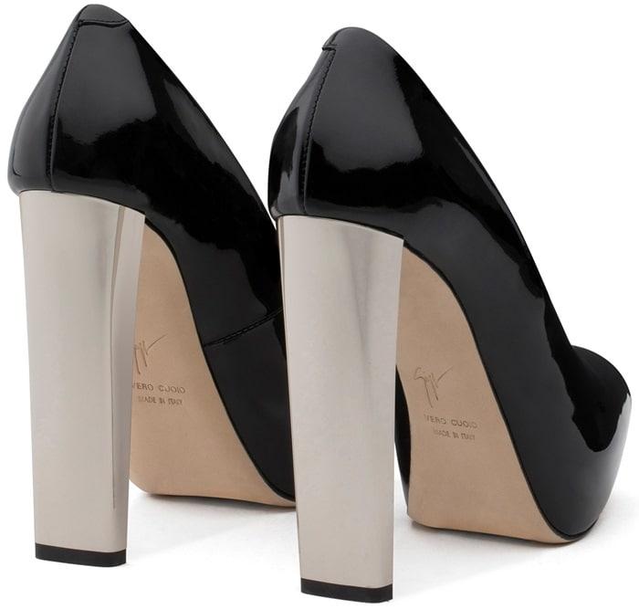 Black Patent Leather Open-Toe Pumps