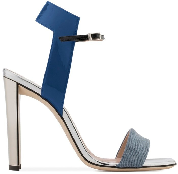 Blue Denim and Leather Sandal with Chunky Mirrored Heels
