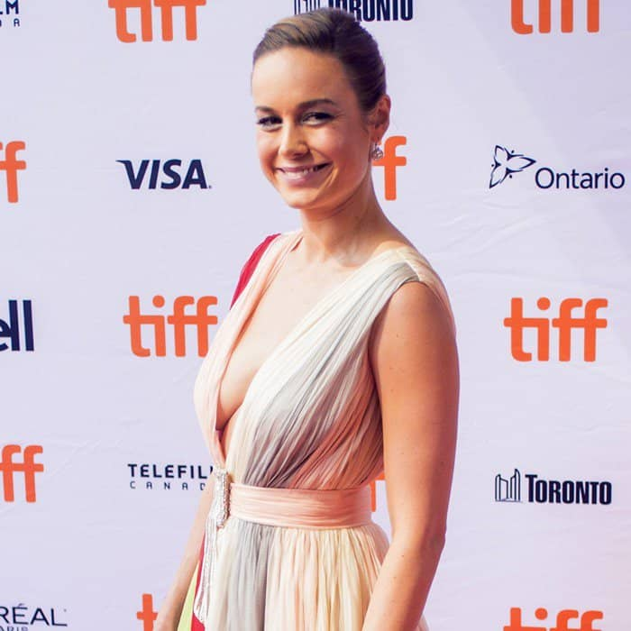 Brie Larson in a Schiaparelli Haute Couture dress at the red carpet at the premiere of her new movie 'Unicorn Store' at the 2017 Toronto International Film Festival at the Ryers in Toronto, Canada, on September 11, 2017