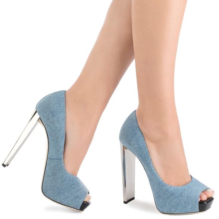 Blue Denim Open-Toe Pumps