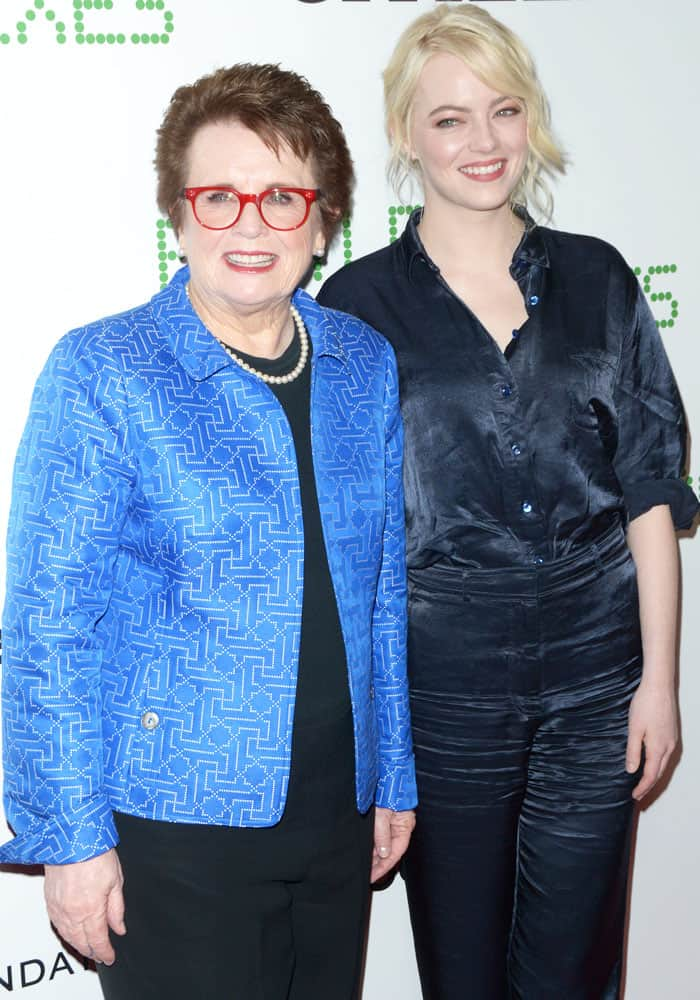 Former athlete Billie Jean King poses with Emma on the carpet