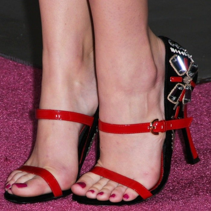 Emma Stone showing off her feet in jewel-detailed Sergio Rossi heels