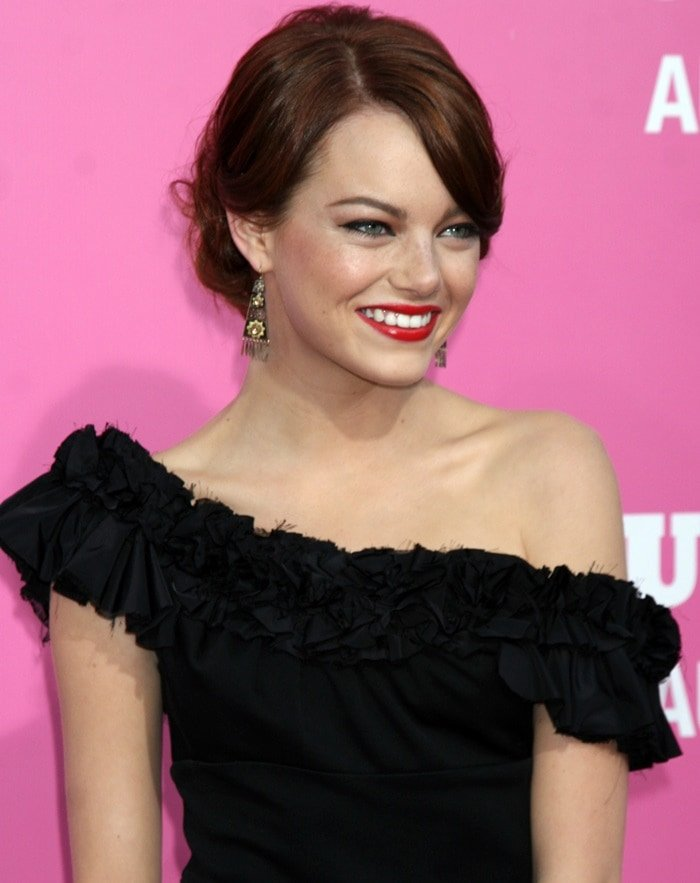"Emma Stone in a black structured dress at Columbia Pictures' premiere of ""House Bunny"" held at the Mann Village Theater on August 20, 2008 in Westwood, California"