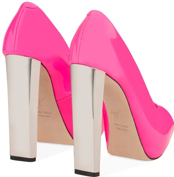Pink Patent Leather Open-Toe Pumps