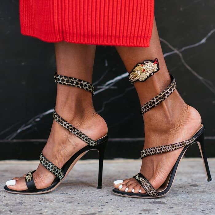 Gianvito Rossi Women's Black Dragon Satin Sandals