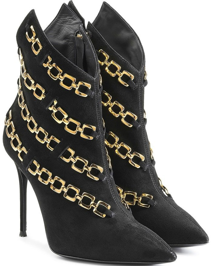 Giuseppe Zanotti Chain Embellished Suede Ankle Boots