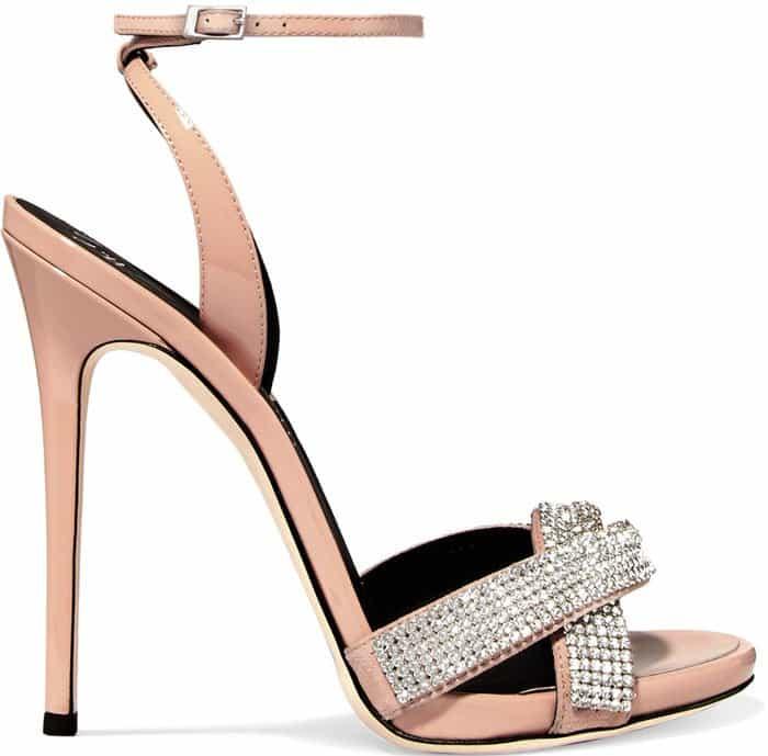 Giuseppe Zanotti Swarovski crystal leather stiletto sandals