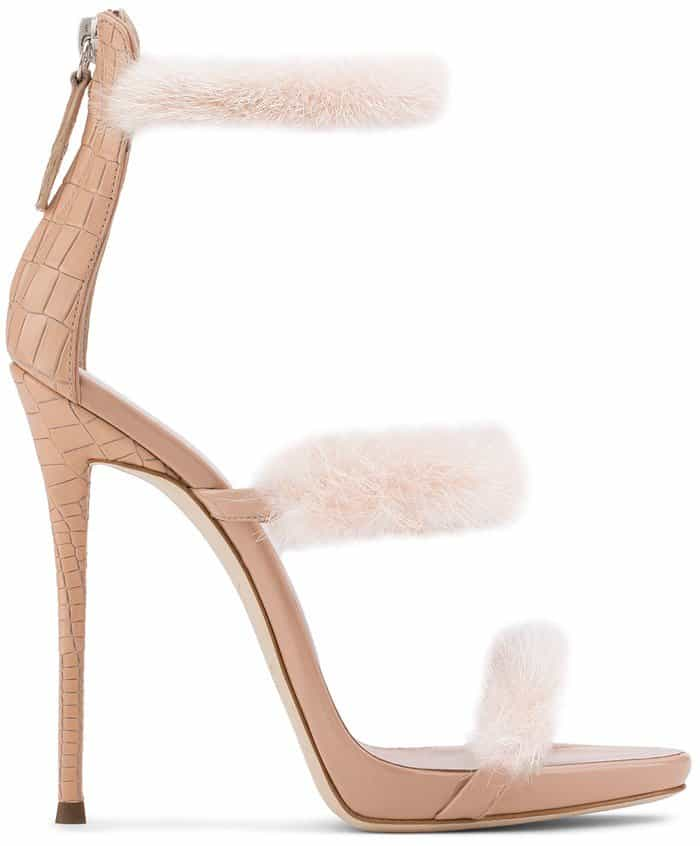 Pink leather 'Harmony Winter' sandal from Giuseppe Zanotti with mink fur