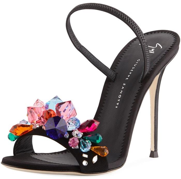 Giuseppe Zanotti 'Mistico' Crystal-Embellished Satin Slingback Sandals