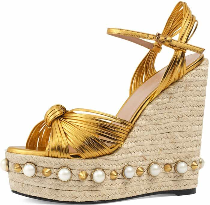 Gucci Barbette studded espadrille wedge sandal
