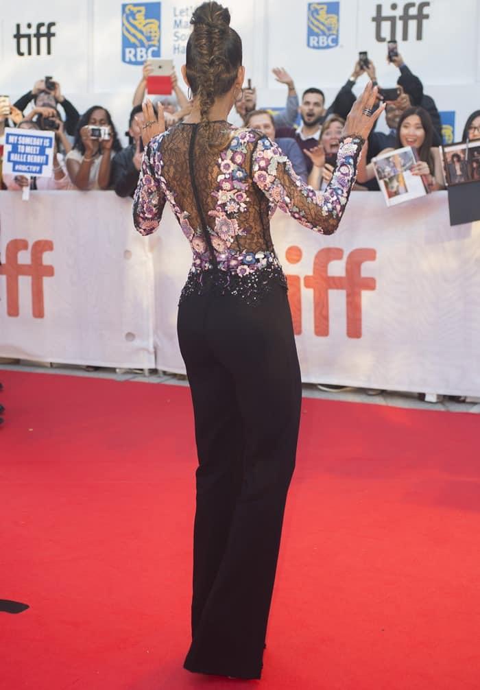 Halle Berry Flashes Cleavage In Zuhair Murad Long Sleeve