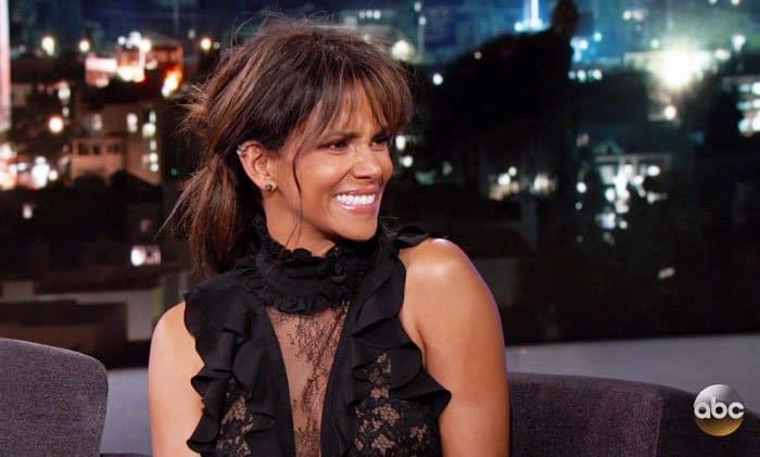 Halle giggles at Jimmy Kimmel's usual antics