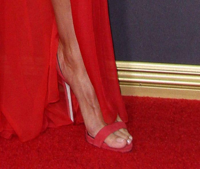 "Heidi Klum wearing red Giuseppe Zanotti ""Sophie"" sandals."