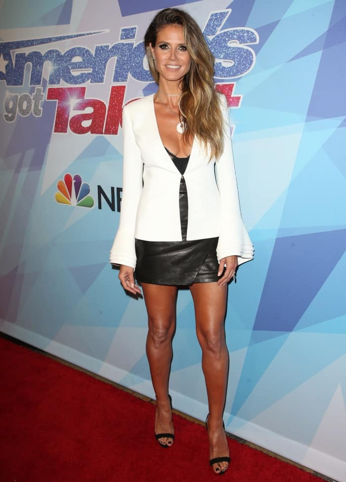 "Heidi Klum attended the ""America's Got Talent"" semi-finals in the black patent version of the high-heeled ""Sophie"" sandals"