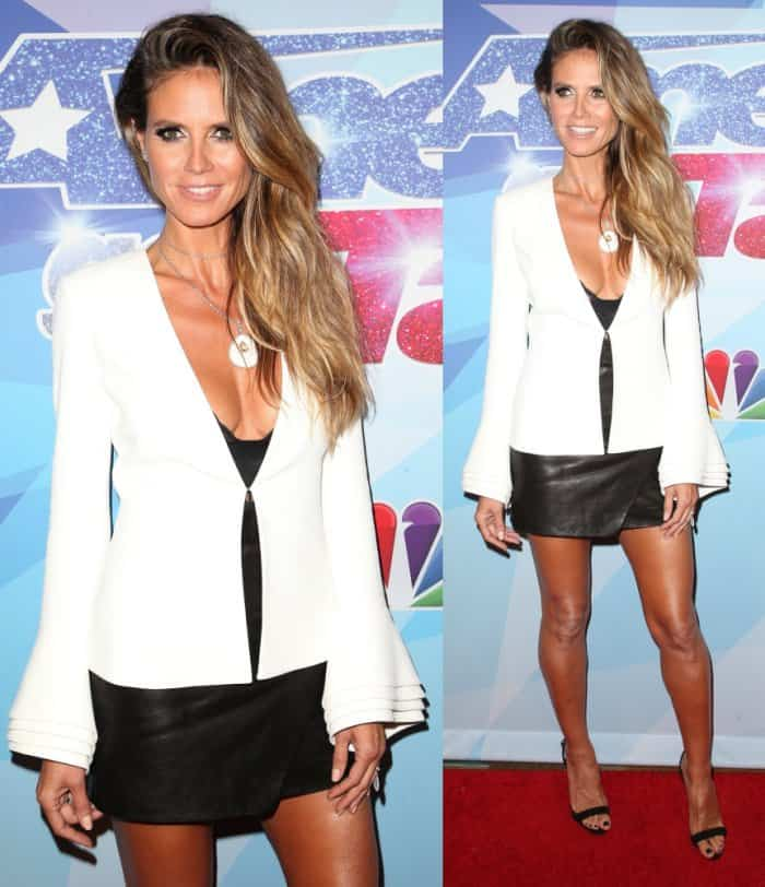 Heidi Klum went for edgy chic at the event in a lace-trimmed bodysuit from her own lingerie line tucked into a Michelle Mason leather mini-skirt and topped with a Brandon Maxwell lapel jacket