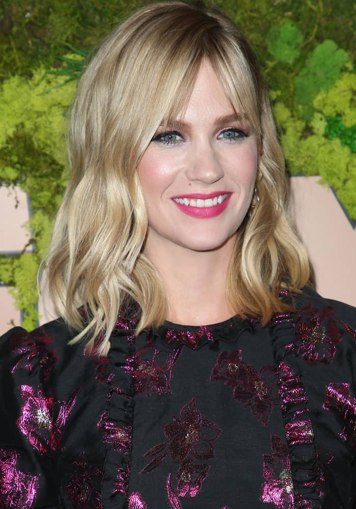 January Jones with an intense shade of pink lipstick at the FOX Fall premiere party