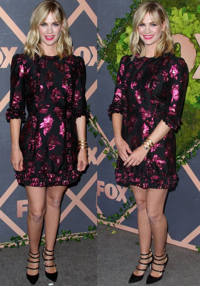 January Jones mixes fun and formal in a mini dress by The Vampire's Wife