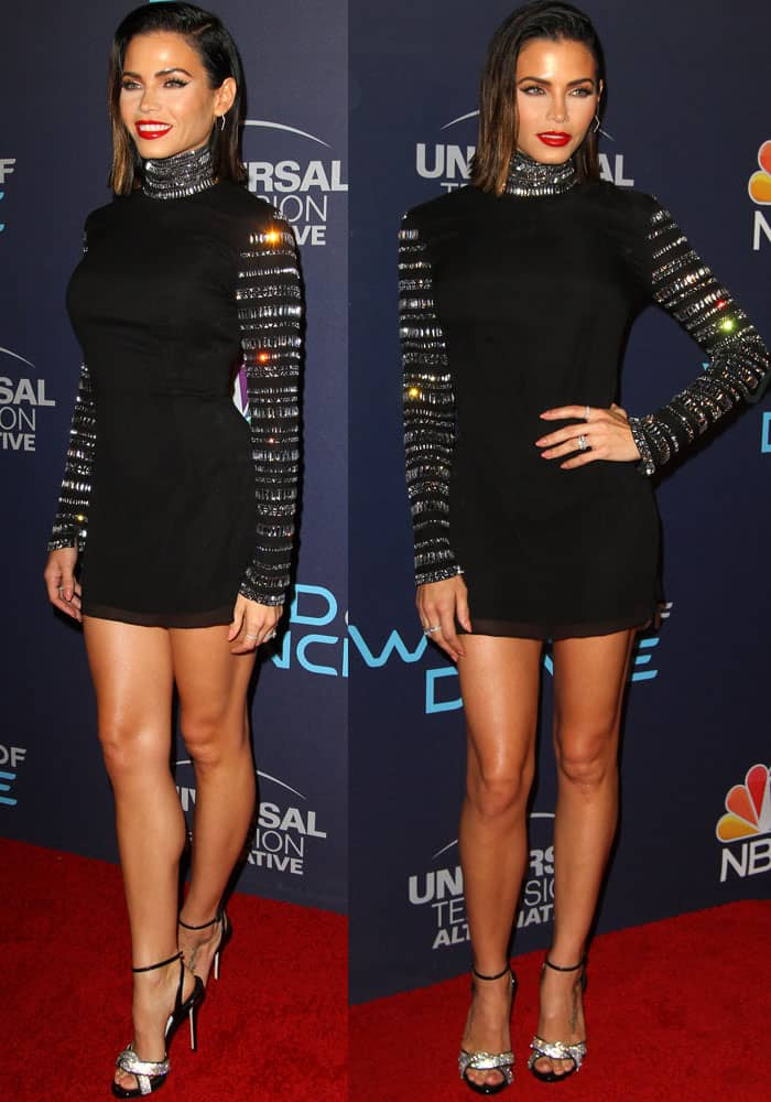 Jenna sparkles in an embellished Azzaro Fall 2017 dress
