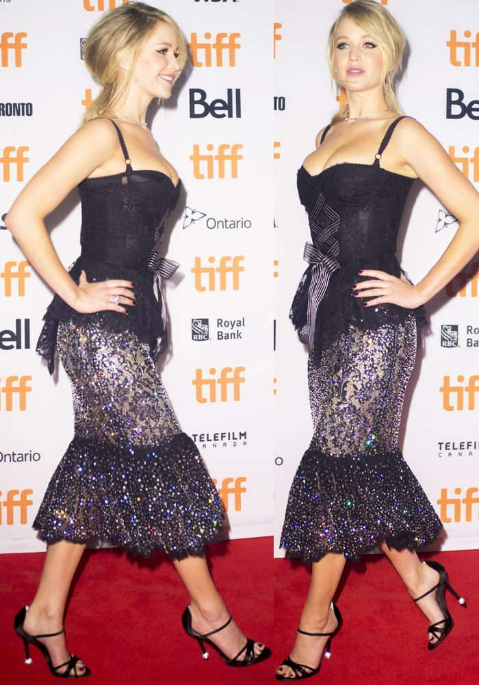 Jennifer poses confidently in a two-piece Dolce & Gabbana ensemble
