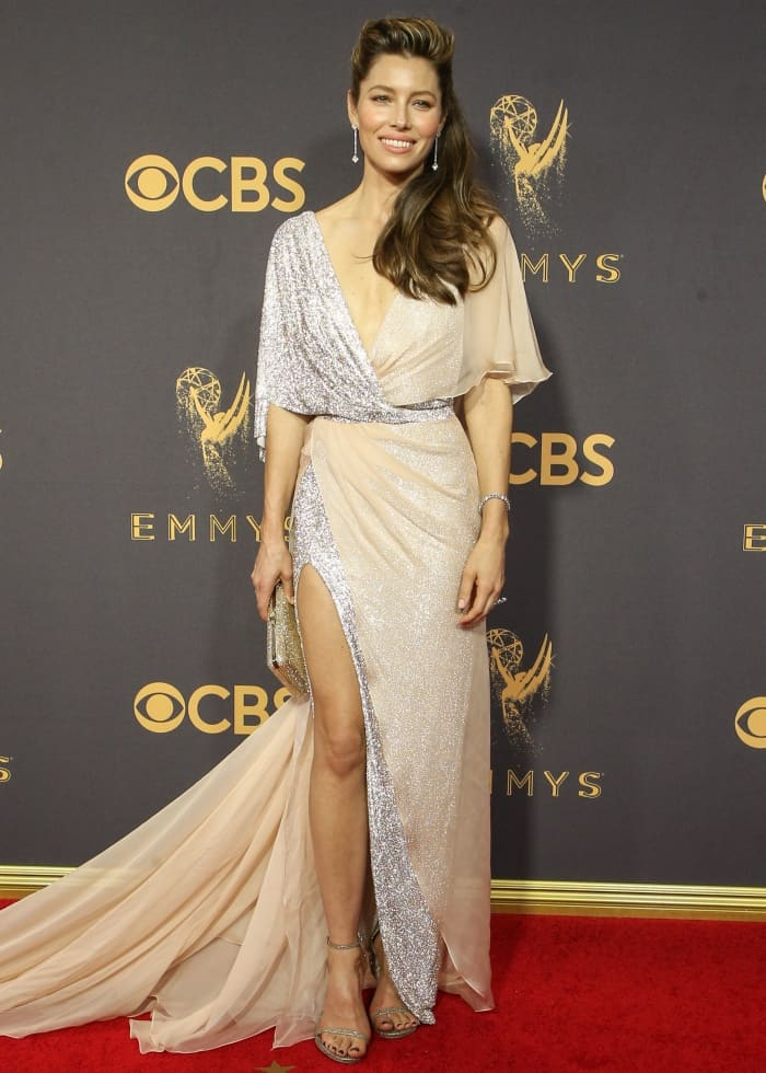 "Jessica Biel in a Ralph & Russo gown and Stuart Weitzman ""Nudist"" sandals."