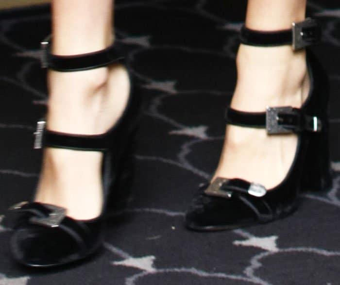 Royalty footwear: Kaia wears a pair of velvet mary janes by The Kooples