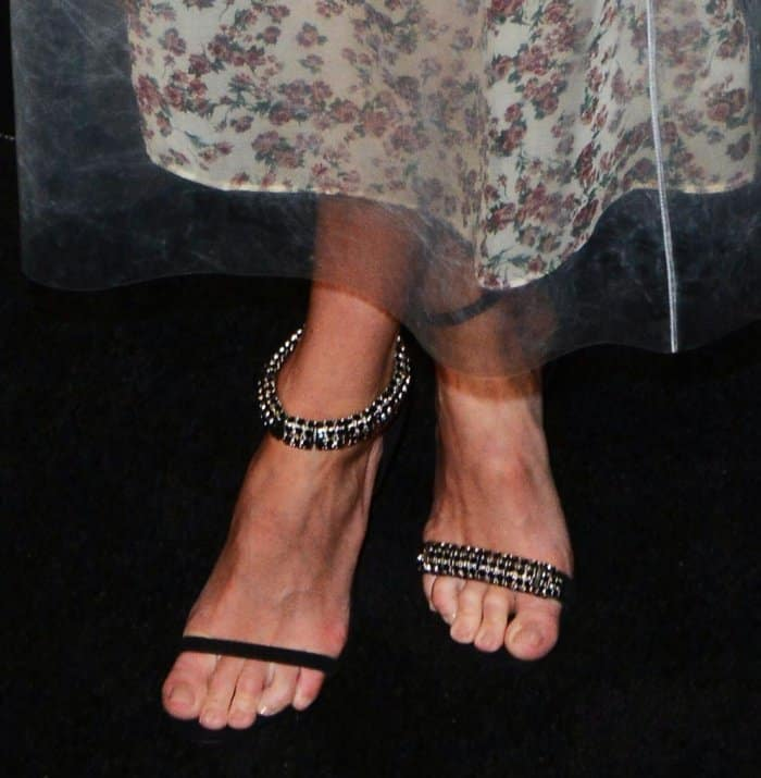Kate Bosworth shows off her feet in Calvin Klein Camelle ankle-strap suede sandals