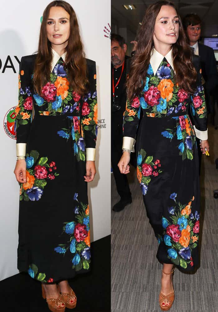 Keira showed up at the charity launch in a gorgeous floral dress by Gucci