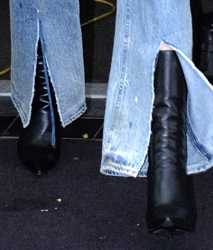 """Kendall Jenner in NYC wearing distressed jeans, oversized blazer and Balenciaga """"Knife"""" booties."""
