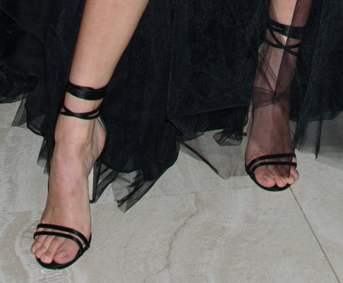 """Kendall Jenner in a Giambattista Valli couture gown and Jimmy Choo """"tizzy"""" ankle wrap sandals."""