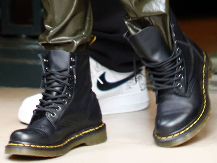 Closeup of Kourtney Kardashian's classic Dr. Martens 1460 boots