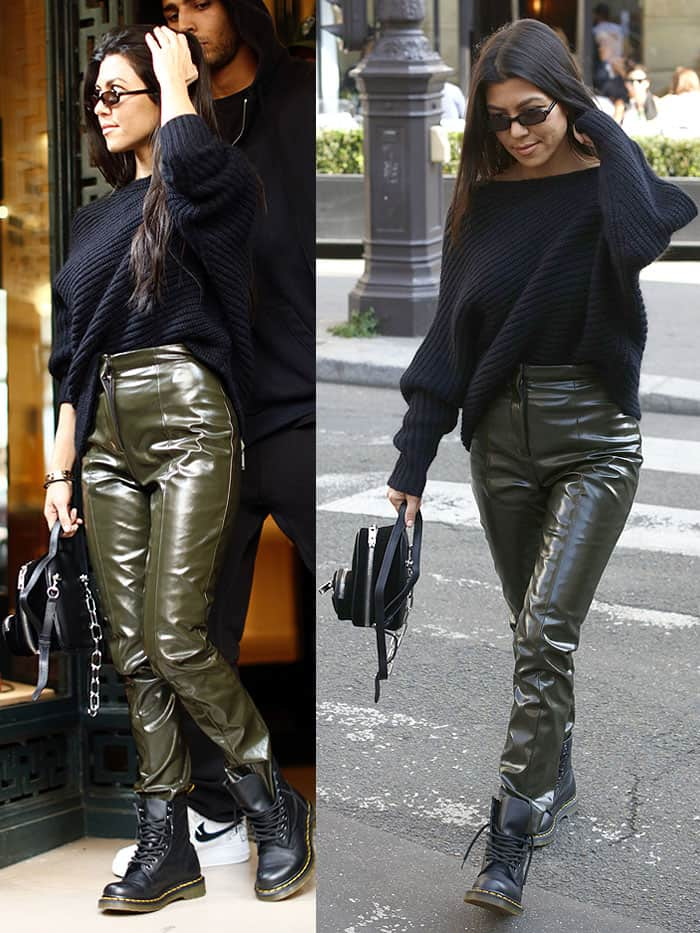 7d2e4cce0a7 Kourtney Kardashian wearing glossy pants and Dr. Martens boots in Paris