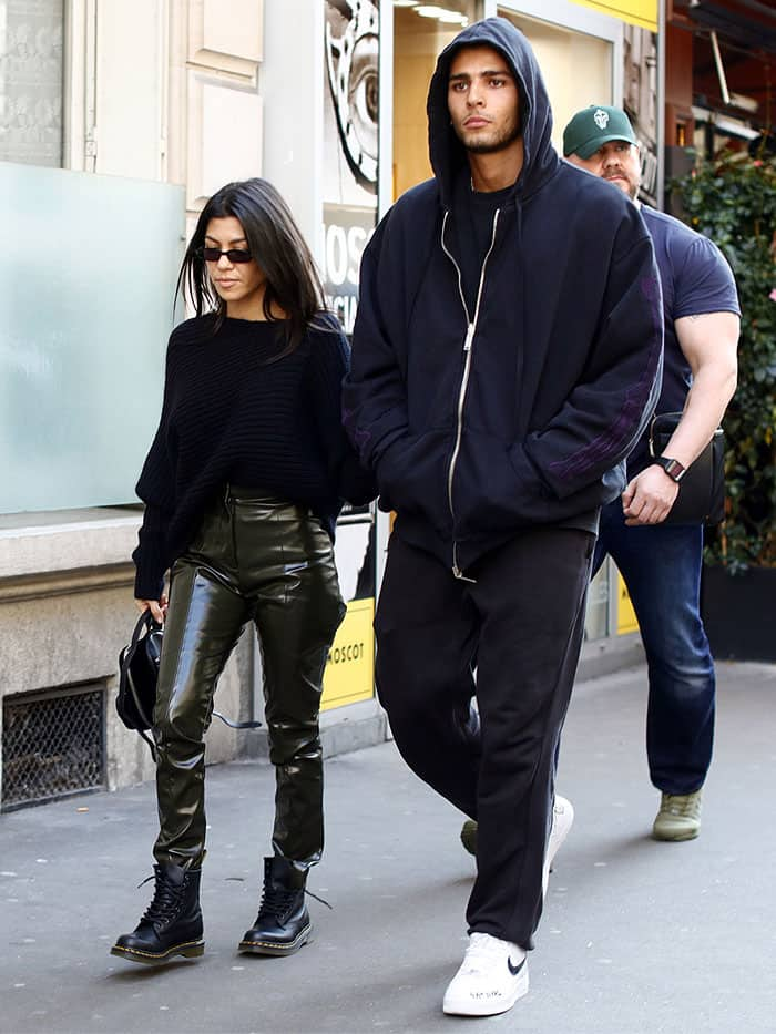 Kourtney Kardashian and boyfriend Younes Bendjima leaving the Paris Saint-German store on the Champs-Elysees Avenue in Paris, France, on September 26, 2017.