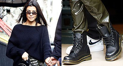 a8aa23d90824 Kourtney Kardashian Rebellious in Paris Wearing Army Pants and Dr. Martens  Boots