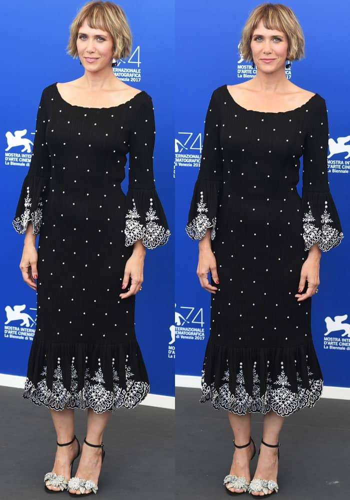 Kristen turns up in a chic pearl-embellished Prabal Gurung dress