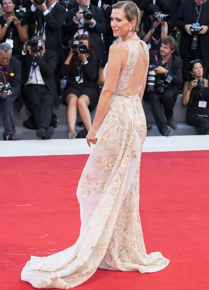 The actress showed off her dress' beautiful cutout and long train