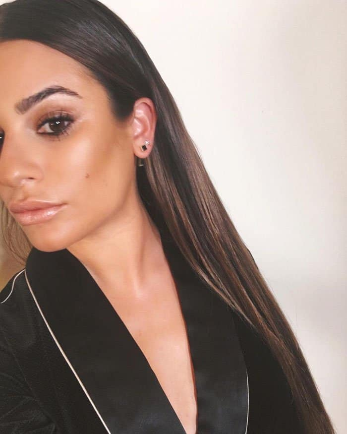 Go for glow: Lea shows off her flawless bronzed makeup